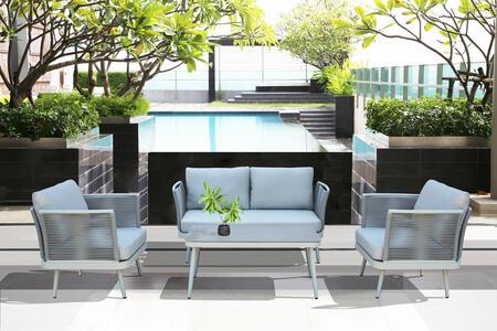 Salotto da giardino in alluminio GRIGIO CHIARO e corda PORTO CERVO MINI con divano 2 posti