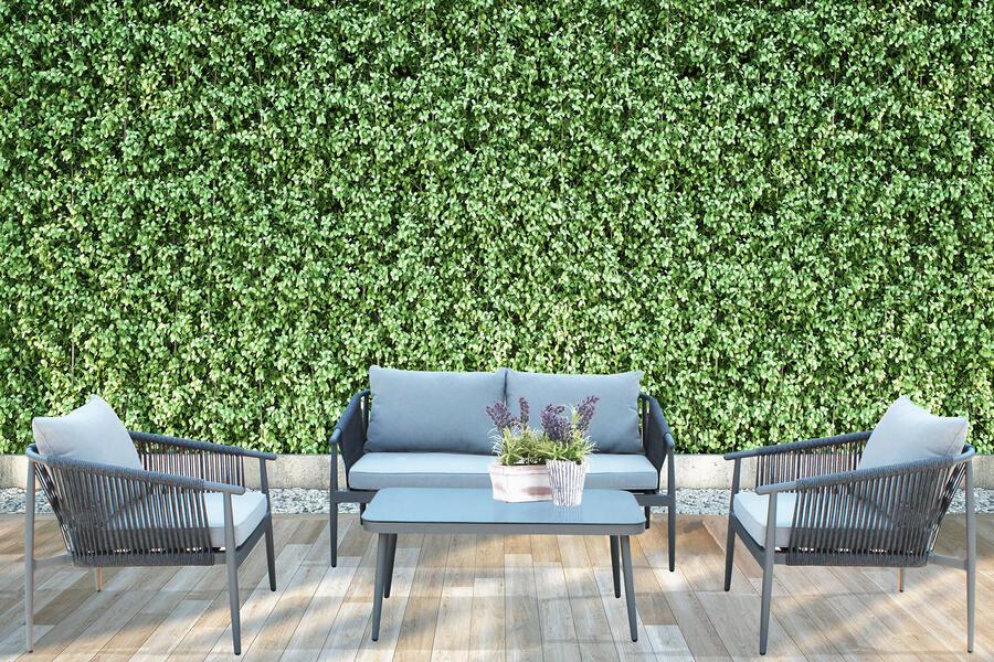 Salotto da giardino in alluminio ANTRACITE e corda LINOSA con divano 2 posti