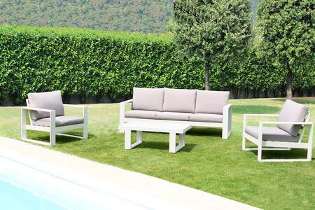 Salottino da giardino in alluminio pensante ALLEGHE con salotto da 3 posti colore BIANCO