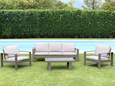 Salottino da giardino in alluminio pensante ALLEGHE con salotto da 3 posti colore TAUPE