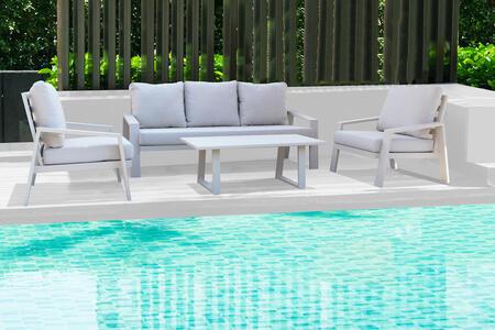 Salottino da giardino in alluminio pensante MERANO con salotto da 3 posti colore TORTORA