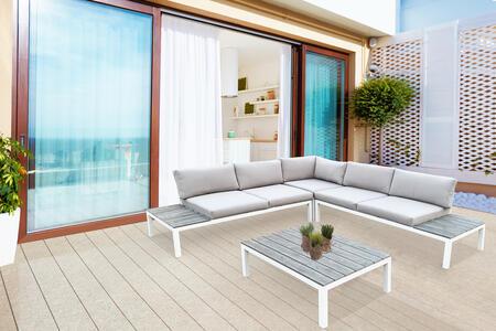 Salotto da giardino angolare in alluminio BIANCO LIVIGNO e polywood effetto legno
