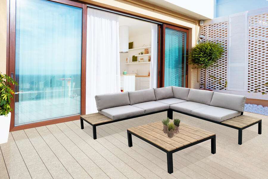 Salotto da giardino angolare in alluminio ANTRACITE  LIVIGNO e polywood effetto legno