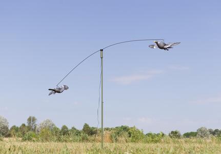Giostra per colombacci con due stampi colombaccio ad ali girevoli
