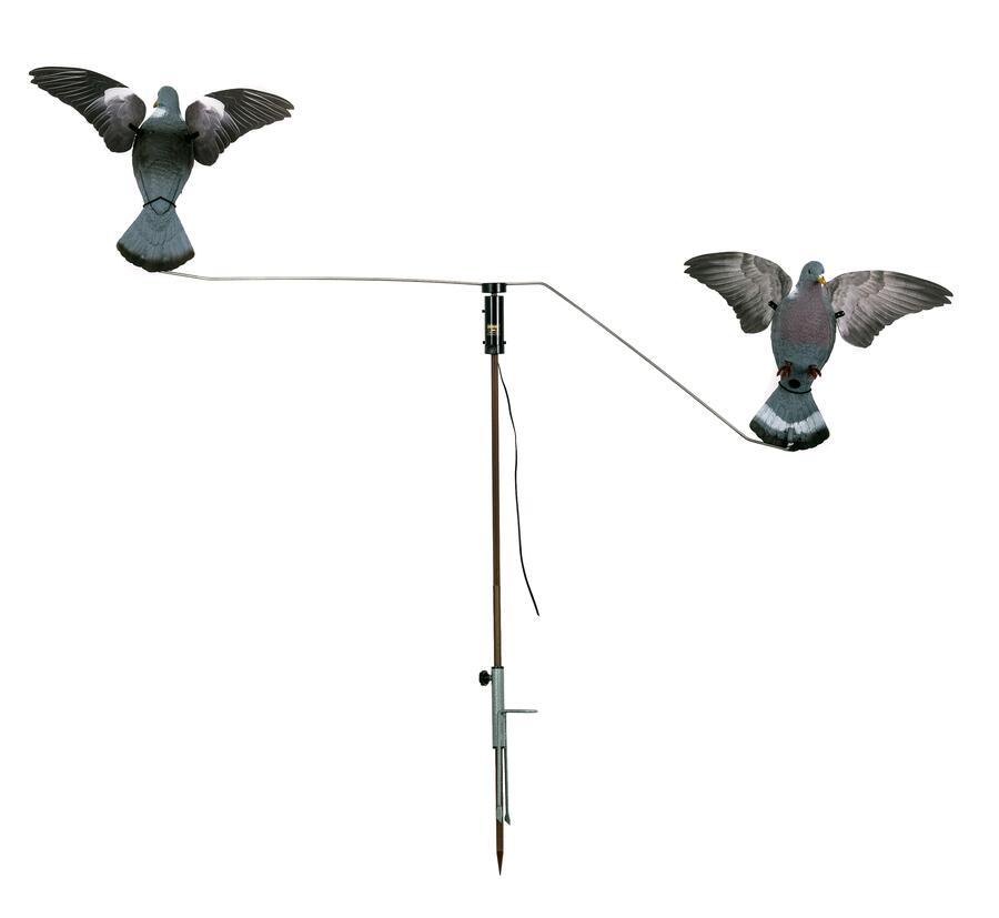 Giostra per colombacci con due stampi colombaccio ad ali girevoli oblique