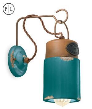 Lampada da Parete Industrial C1621 di Ferroluce in Ferro Anticato Corten e Ceramica, Varie Finiture - Offerta di Mondo Luce 24