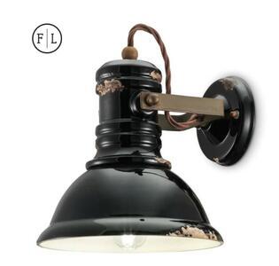 Lampada da Parete Industrial C1693 di Ferroluce in Metallo e Ceramica, Varie Finiture - Offerta di Mondo Luce 24
