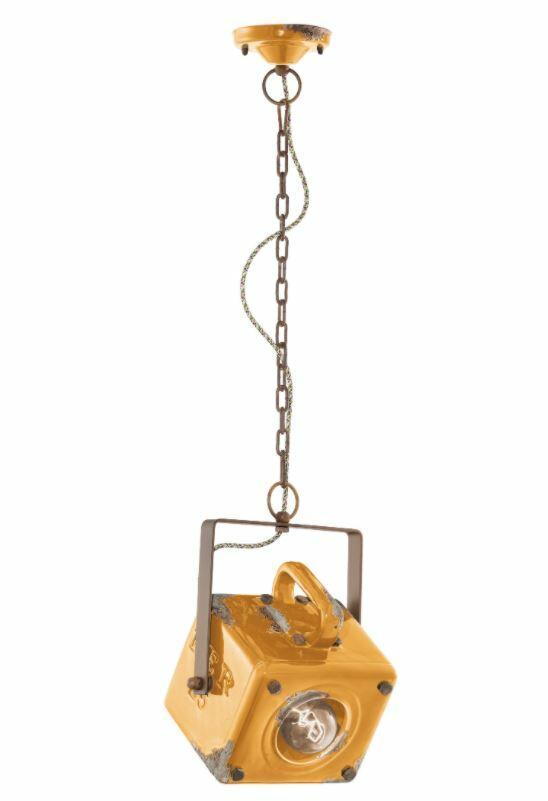 Lampada a Sospensione Industrial C1652 di Ferroluce in Ferro Anticato Corten e Ceramica, Varie Finiture - Offerta di Mondo Luce 24