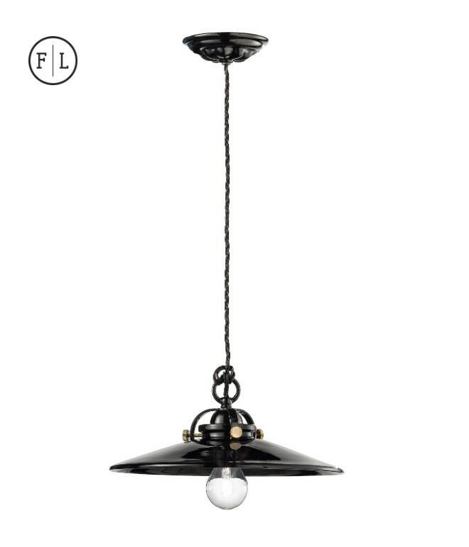Lampada a Sospensione B&W C099 di Ferroluce in Ceramica e Ottone, Varie Finiture - Offerta di Mondo Luce 24