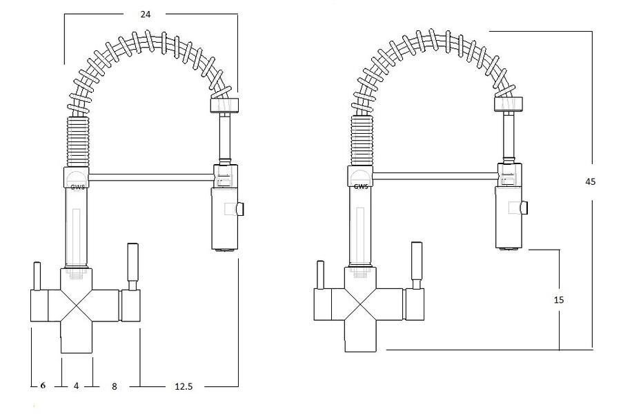 Miscelatore 3 vie con doccetta per acqua depurata più l'acqua calda e fredda dell'impianto di casa con manopole.