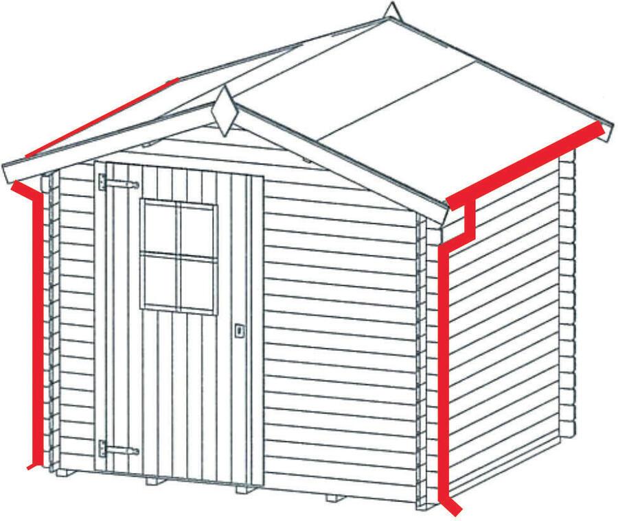 Grondaie in lamiera preverniciata per casette in legno con falde fino da cm.180 a cm.219