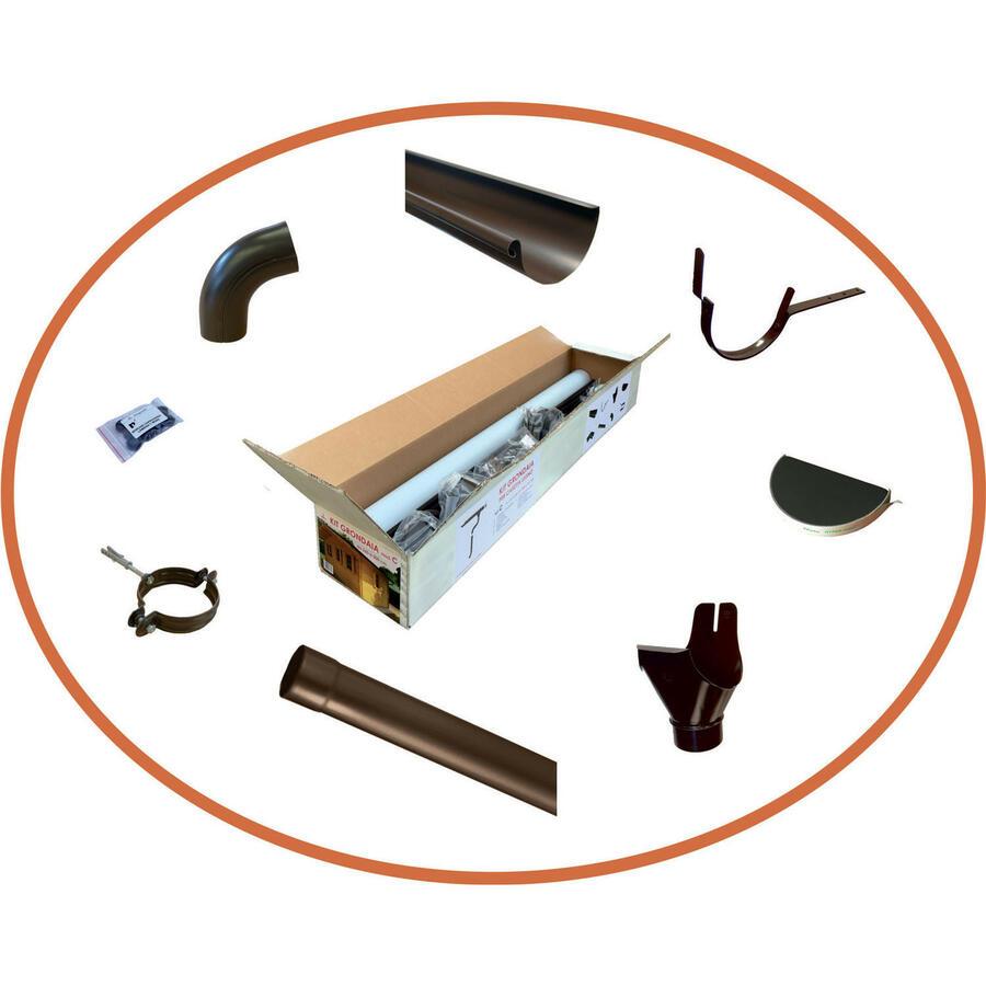 Grondaie in lamiera preverniciata per casette in legno con falde fino da cm.301 a cm.349