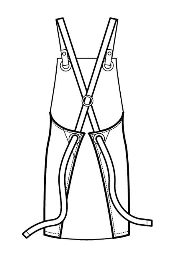 Grembiule Milford Nero corda con inserti ecopelle