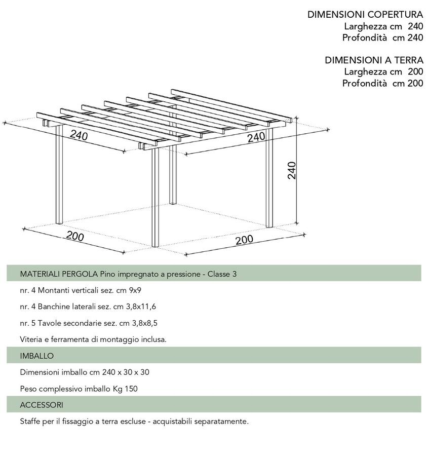 Pergola in legno Mini m.2,00 x m.2,00 in pino massello impregnato in autoclave - Trasporto incluso