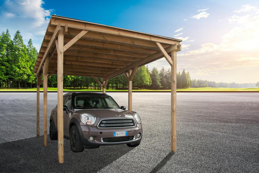 Tettoia in legno m 2,79 x m 4,70 con copertura in listoni - Trasporto,Guaina ardesiata e staffe incluso