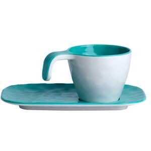Servizio da Caffè Infrangibile Harmony col. Acqua Marina e bianco di Marine Business