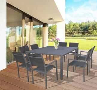 Tavolo da giardino in alluminio QUADRATO MAROSTICA 150 x 150 allungabile colore ANTRACITE