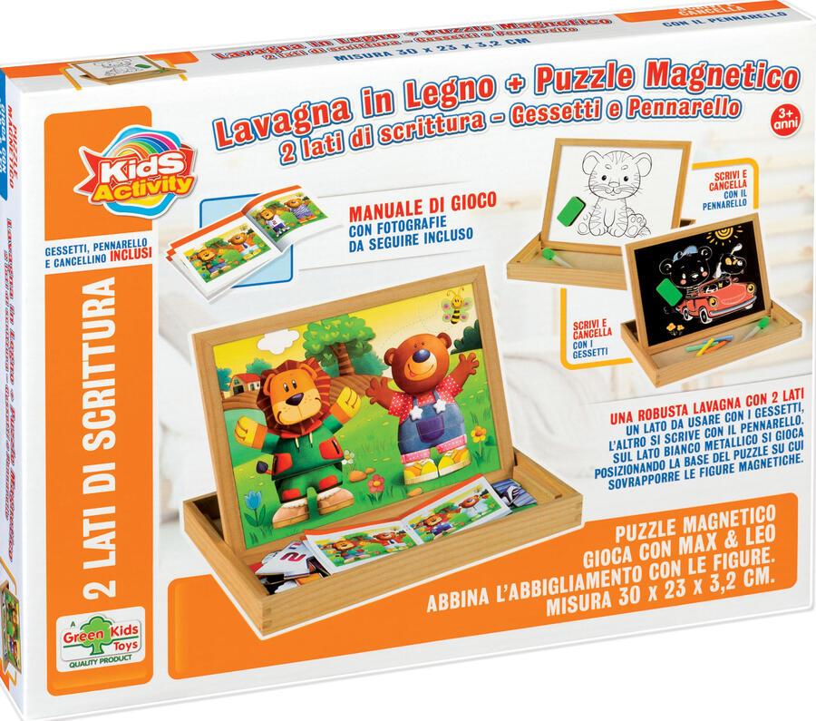LAVAGNETTA IN LEGNO + PUZZLE MAGNETICO GESSETTI E PENNARELLO GREEN KIDS TOYS