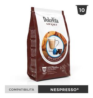"""100 CAPSULE """" DOLCE VITA"""" BISCOTTINO (CAFFE' BISCOTTO E CANNELLA) COMPATIBILE NESPRESSO"""