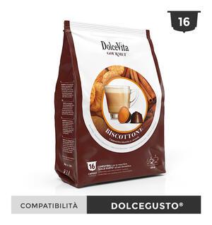 """16 CAPSULE """" DOLCE VITA"""" BISCOTTONE (CAPPUCCINO BISCOTTO E CANNELLA) COMPATIBILI DOLCE GUSTO"""