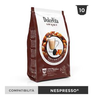 """100 CAPSULE """" DOLCE VITA"""" NOCCIOLINO (CAFFE' MACCHIATO AL GUSTO DI NOCCIOLA) COMPATIBILE NESPRESSO"""