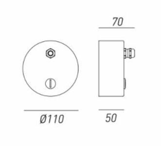 Rosone con due stringicavo più 2 tappi per lampada Drop a 2 Cavi de Il Fanale - Offerta di Mondo Luce 24