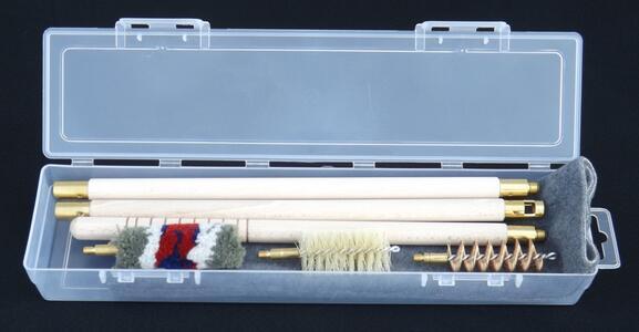 kit pulizia fucile cal.12 e cal.20 con panno pulizia in astuccio trasparente