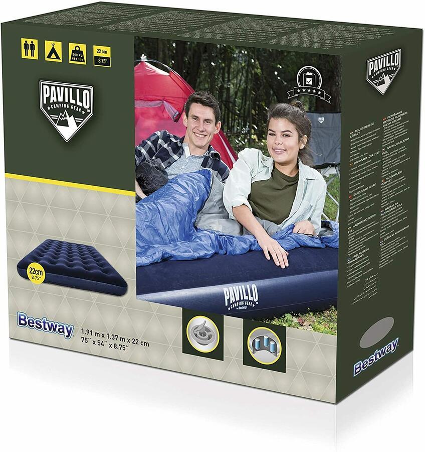 Airbed blu floccato matrimoniale - Bestway 67002N - 191 x 137 x 22 cm