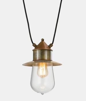 Lampada per Esterno con piccolo cappello a 2 Cavi Drop in Vetro, Ottone e Rame de Il Fanale - Offerta di Mondo Luce 24