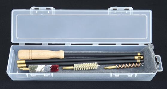 kit pulizia fucile cal.36/410 con panno pulizia in astuccio trasparente