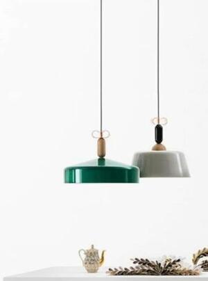 Lampada a Sospensione Bon Ton Ø 45 cm in Alluminio Verniciato e Legno Rovere de Il Fanale, Varie Finiture - Offerta di Mondo Luce 24