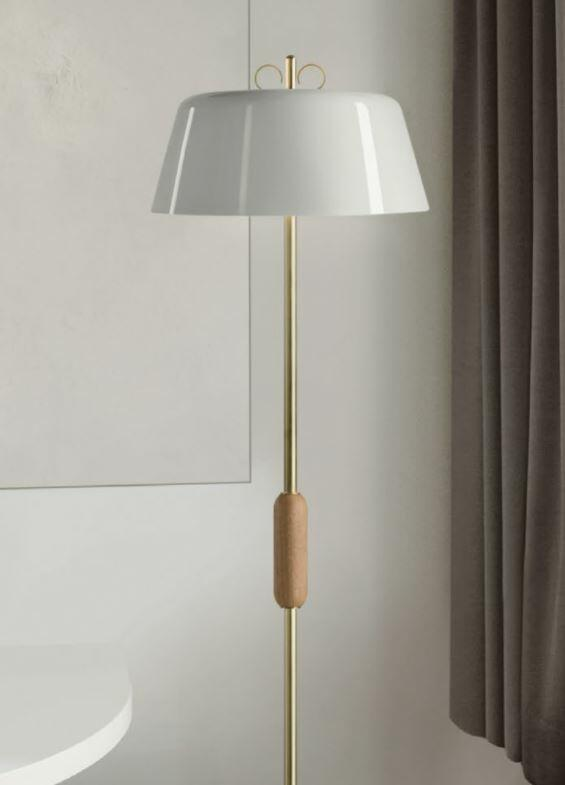 Lampada da Terra Bon Ton Ø 40 cm in Alluminio Verniciato e Legno Rovere de Il Fanale, Varie Finiture - Offerta di Mondo Luce 24