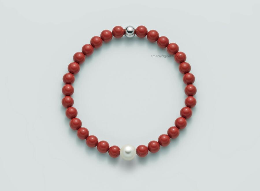 pbr3208 Bracciale color Corallo Rosso e perla Miluna