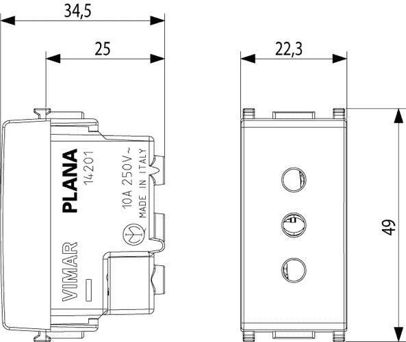 14201 PRESA 2P+T 10A P11 PLANA BIANCO