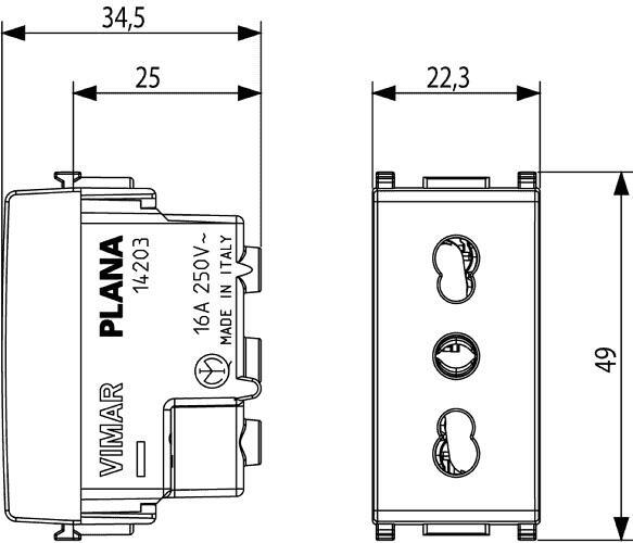 14203 PRESA 2P+T 16A P17/11 PLANA BIANCO