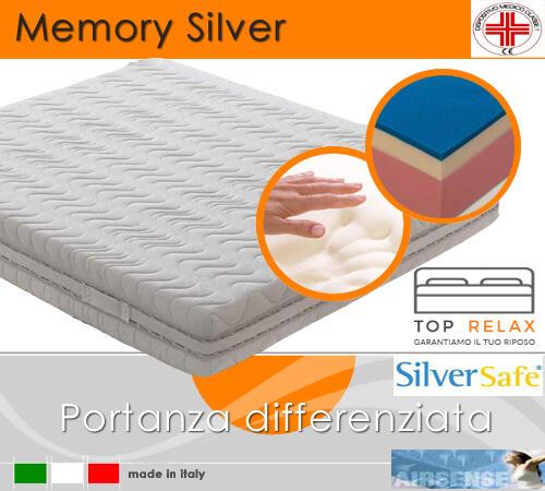 Materasso Memory Silver Dispositivo Medico Tre Strati da cm 125x190/195/200 Made in Italy - Top Relax