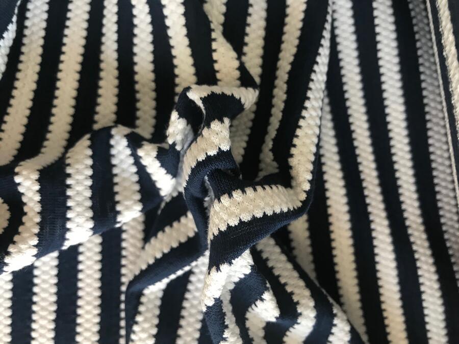 Maglina Jersey goffrata di cotone a righe blue e bianche
