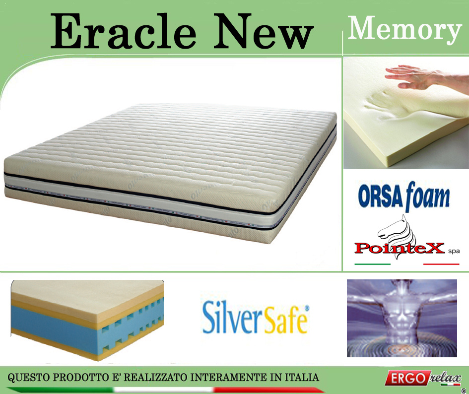 Materassi In Lattice E Memory Differenze.Materasso Memory Mod Eracle New Matrimoniale Da Cm 160x190 195 200 Argento Sfoderabile Altezza Cm 24 Ergorelax