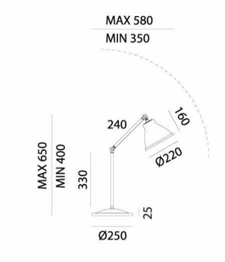 Lampada da Tavolo Loft in Ferro e Ottone con snodo de Il Fanale - Offerta di Mondo Luce 24
