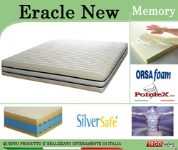 Materasso Memory Mod. Eracle New Singolo da Cm 80x190/195/200 Argento Sfoderabile Altezza Cm. 24 - ErgoRelax