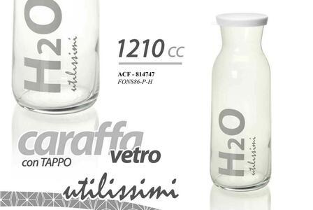 Brocca Caraffa in Vetro Trasparente Brocche Caraffe con Tappo Coperchio 1200ml