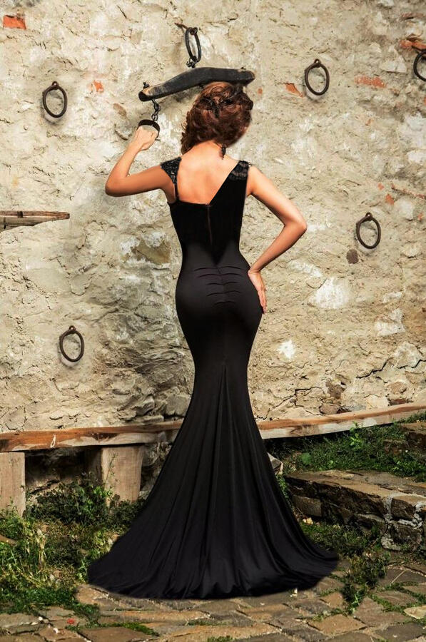 0663 LONG DRESS IN ELASTIC CREPE WITH TRANSPARENCIES IN TULLE AND MACRAME '