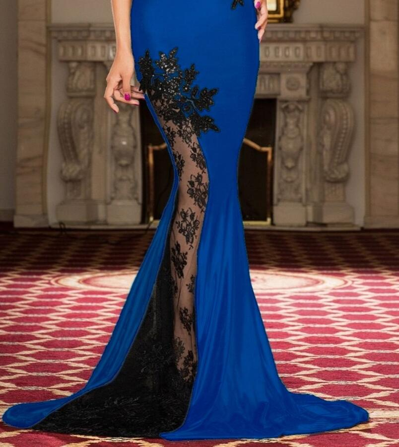 0664 LONG DRESS IN ELASTIC CREPE WITH TRANSPARENCIES IN TULLE AND MACRAME '