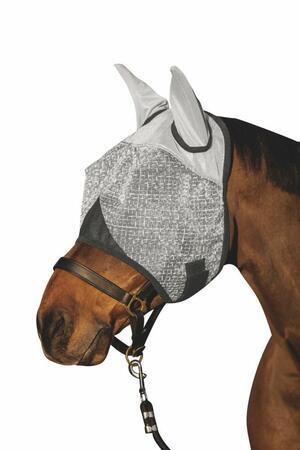 Maschera antimosche taglia FULL con protezione per orecchie colore grigio chiaro