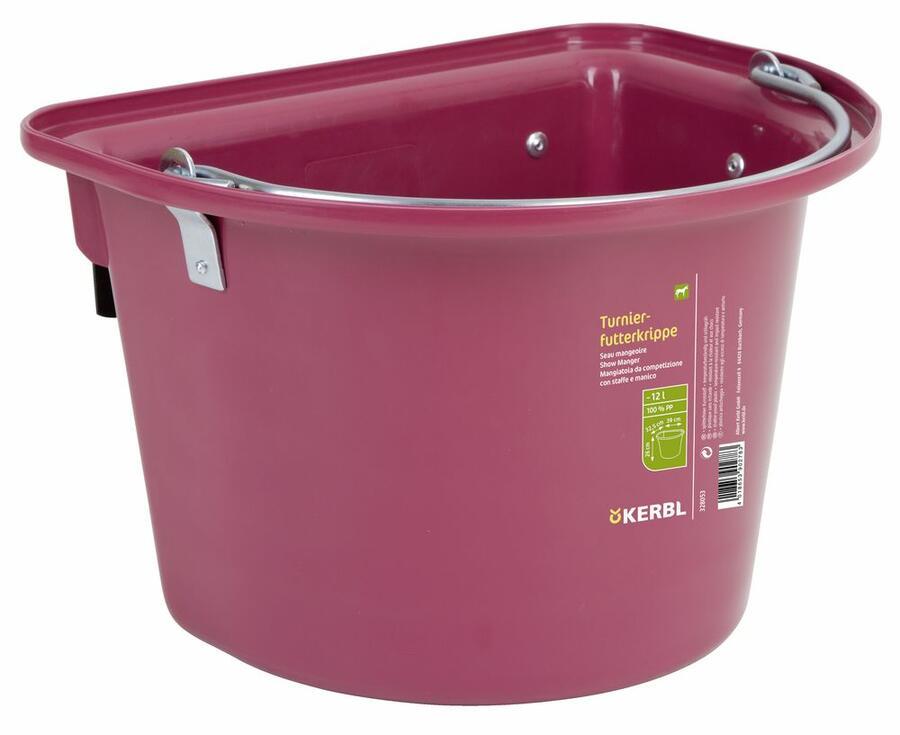 Mangiatoia da gara o da trailer con staffa e maniglia colore Rosa 12 litri