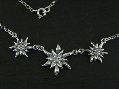 Edelweiss Girocollo grande in Argento brunito