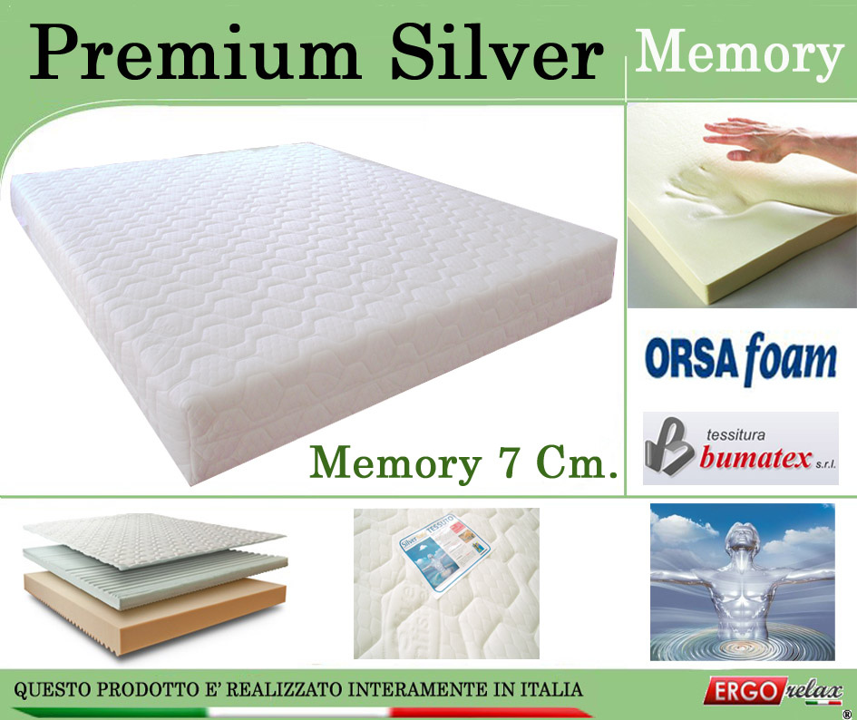 Materasso Memory Mod. Premium Silver  85x190 Zone Differenziate Argento Altezza Cm 21 - Ergorelax