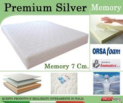 Materasso Memory Mod. Premium Silver  Singolo 80x190 Zone Differenziate Argento Altezza Cm. 21 - Ergorelax