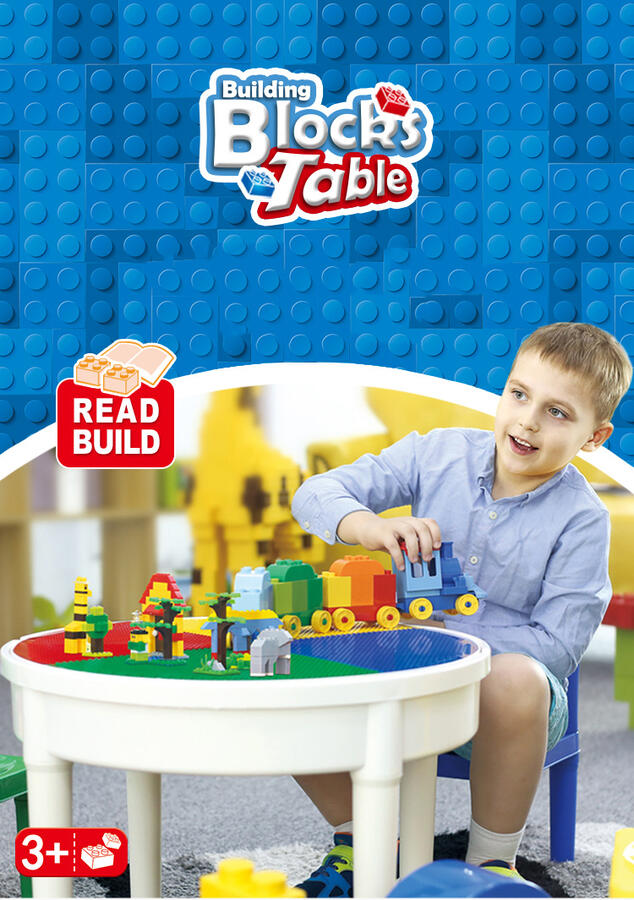 WANGE BUILDING BLOCKS TABLE + 300 PZ TAVOLO DA COSTRUZIONE MULTIFUNZIONE