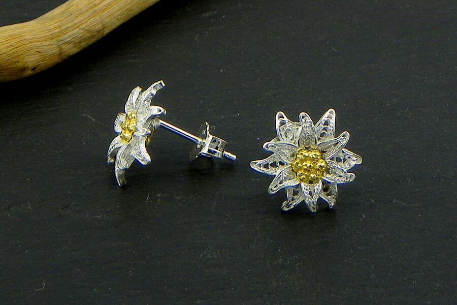 Edelweiss earrings Filigree lobe
